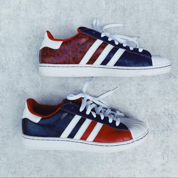 Anciano Escultura Repegar  adidas Shoes | Mi Adidas Superstar Red White And Blue | Poshmark